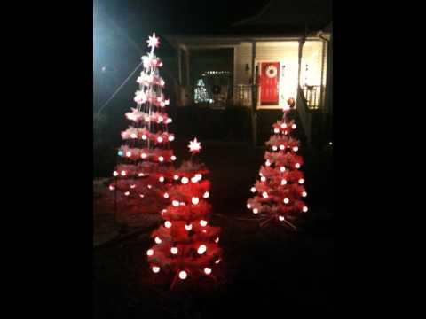 Decorations with musical lighted Christmas trees