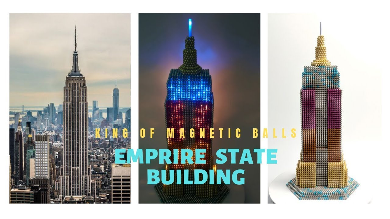 DIY - How to build Empire State building with magnetic balls and fairy light (Satisfying)