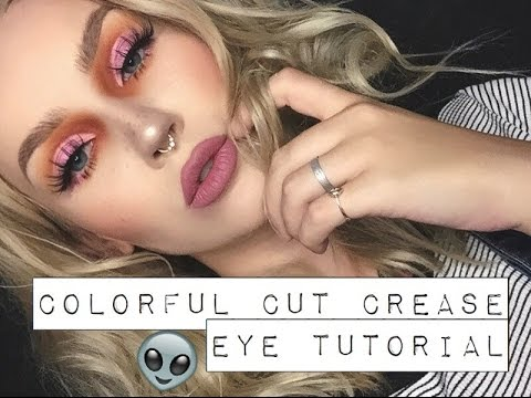 colorful cut crease eye makeup tutorial  youtube