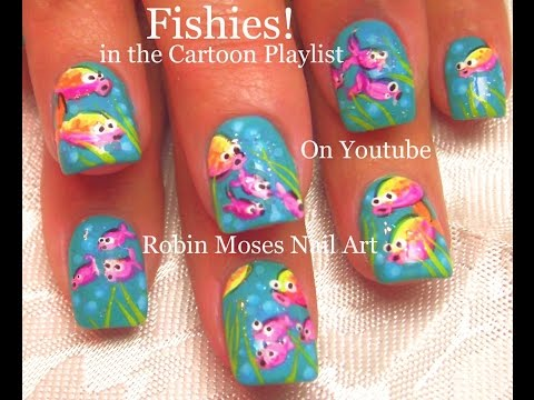 CUTE Nail Art! DIY Easy Neon Fish Nails! Fun Nail Design Tutorial!