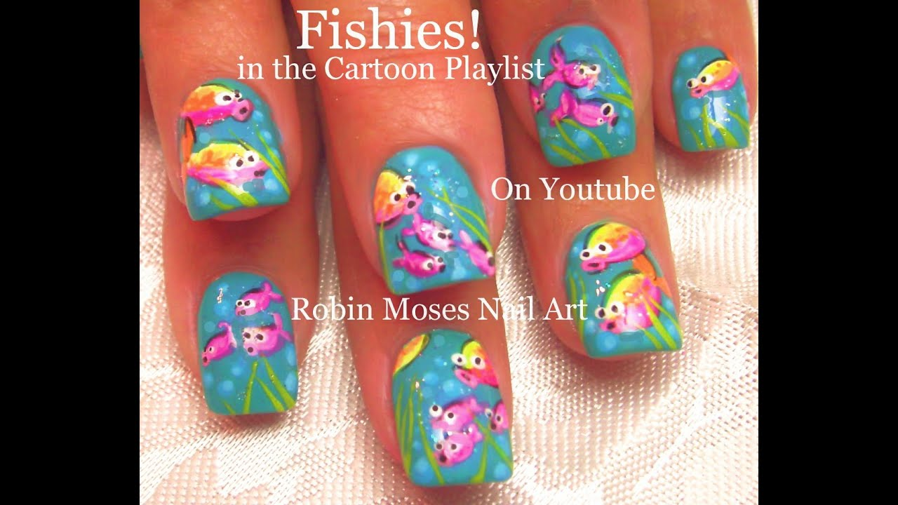 Cute Nail Art Diy Easy Neon Fish Nails Fun Nail Design Tutorial