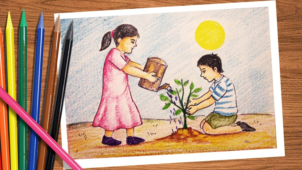 How to draw tree plantation drawing easy step by step ...