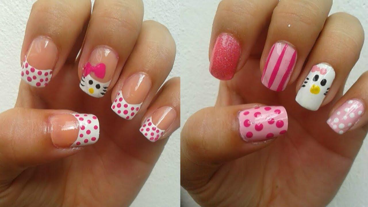 2 Diseños de uñas de Hello Kitty ✿✿✿