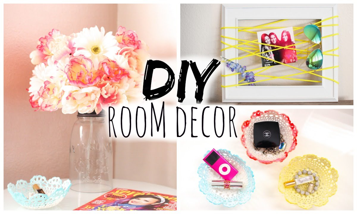Diy room decor for cheap simple cute youtube for Easy diy room decor pinterest