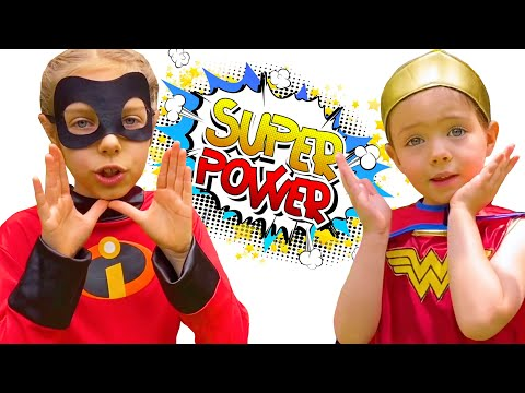 Diana and Maya saving Adele. Girls with Super Power. Diana and sisters play Kinetic Sand. |