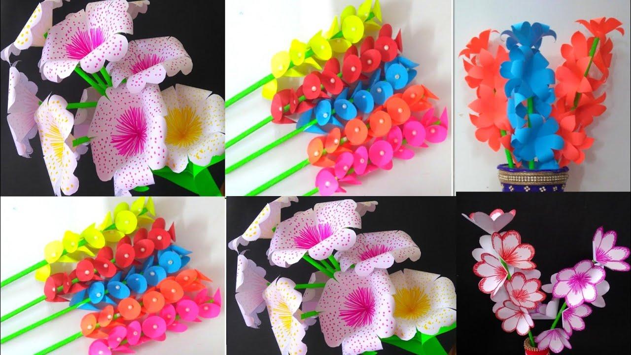 5 DIY  Paper Flowers craft - DIY Room Decoration Ideas - Paper Craft