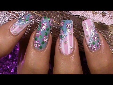 Vintage Shabby Chic Floral Nail Art Design Tutorial Youtube