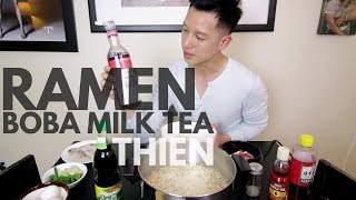 mukbang with thien mama creamy tom yum instant ramen noodles and oolong milk tea with boba