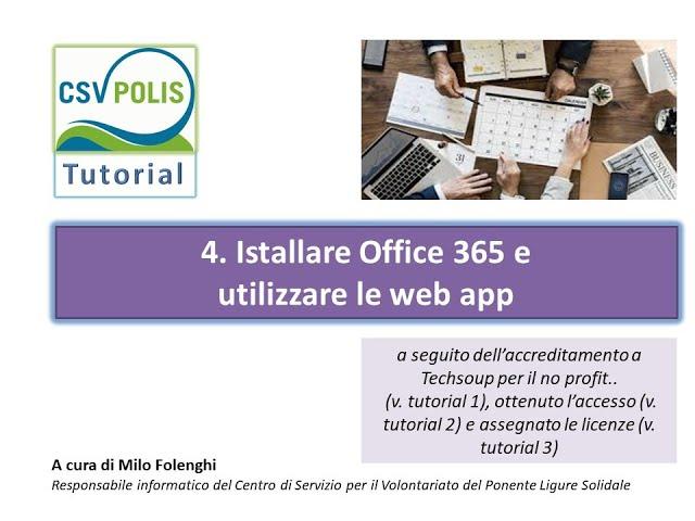 Installare Office 365 per il no profit e utilizzare le web app Microsoft