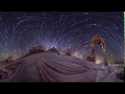 Time lapse video of stars diverging at equator