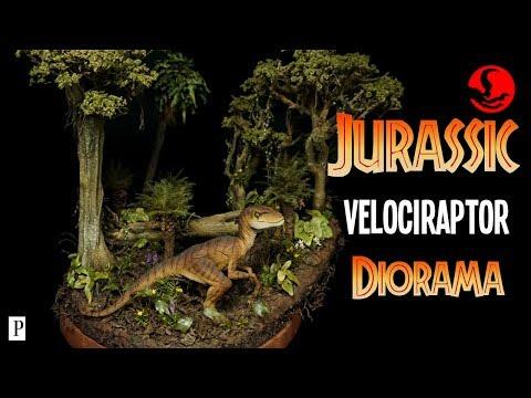 Jurassic Velociraptor Diorama - Jungle Scenery