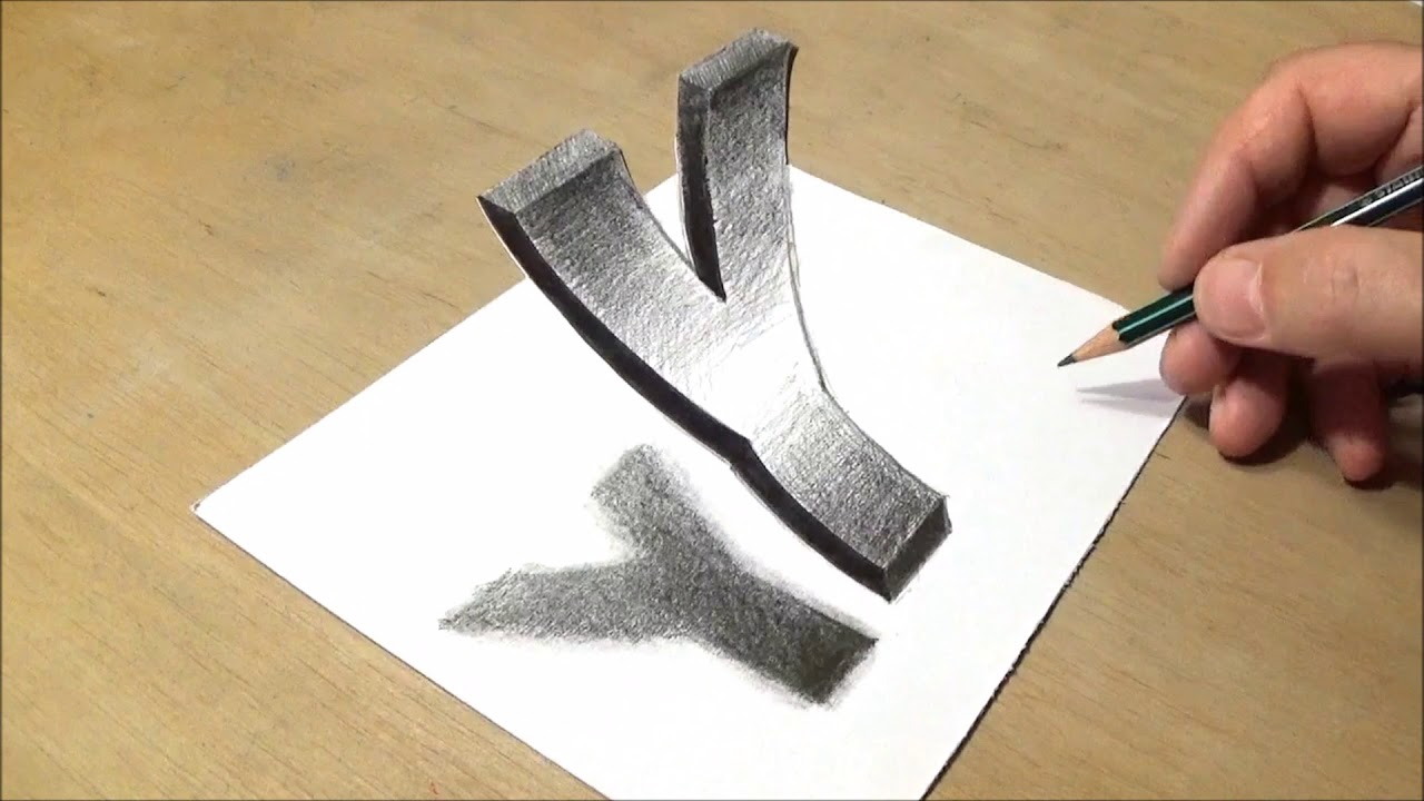 Trick Art Drawing How To Draw 3d Letter A