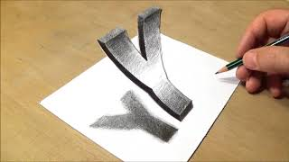 How to Draw Floating Letter Y - Drawing 3D Trick Art with Pencil & Marker - VamosART
