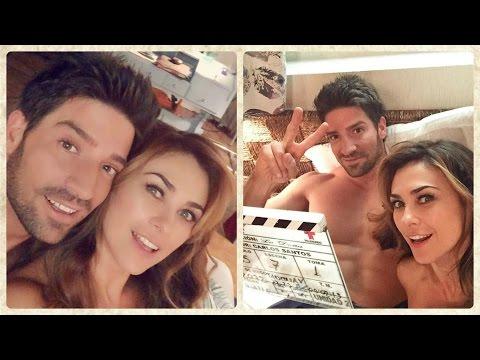 Aracely Arambula y David Chocarro en grabaciones de La Doña de Telemundo