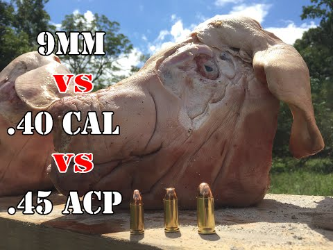 9mm vs .40 Cal vs .45 ACP... Pig Head Test