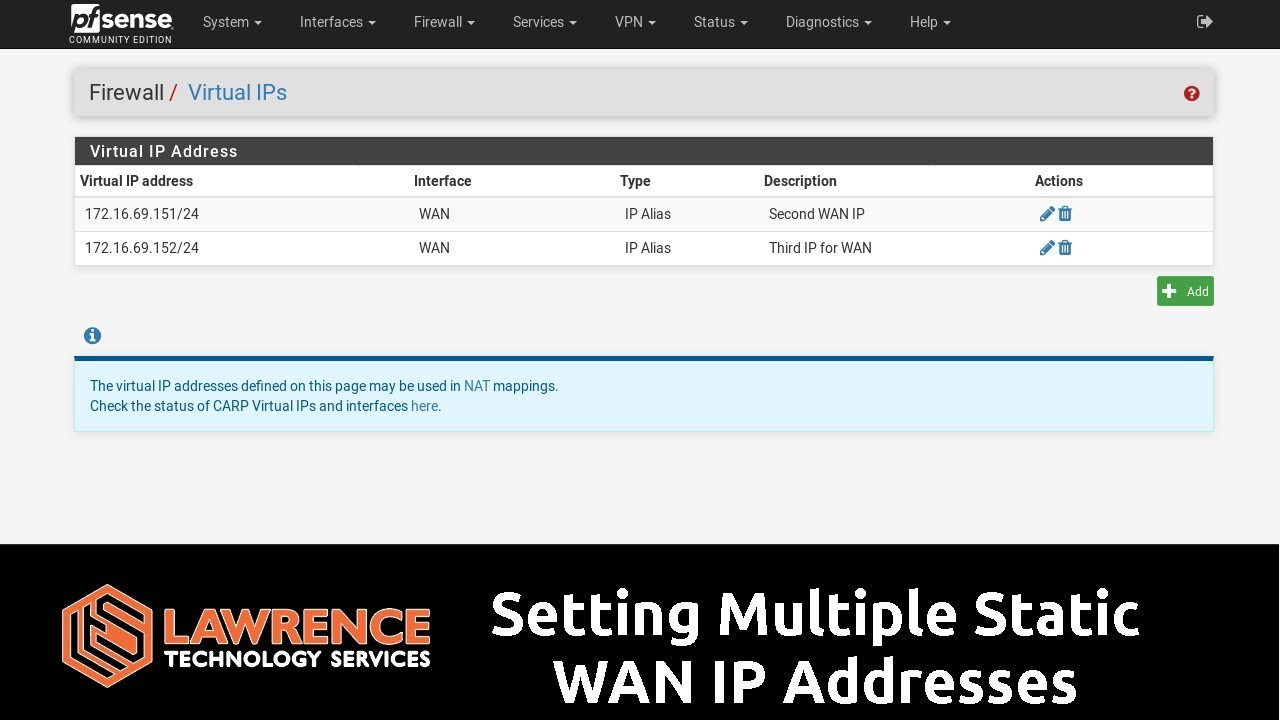pfsense Setting Multiple Static WAN IP Addresses / Using Virtual IP's NAT  Firewall Rules