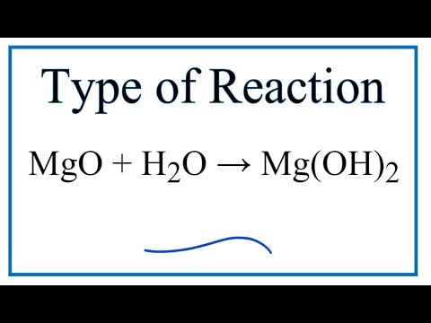 Type Of Reaction For MgO + H2O = Mg(OH)2