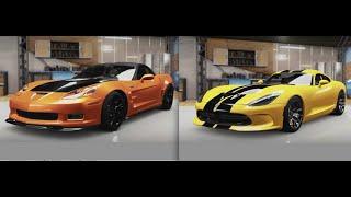 Forza Horizon 2 Drift Off - Corvette C6 (V8) vs Viper GTS (V10) w/Wheel Cam