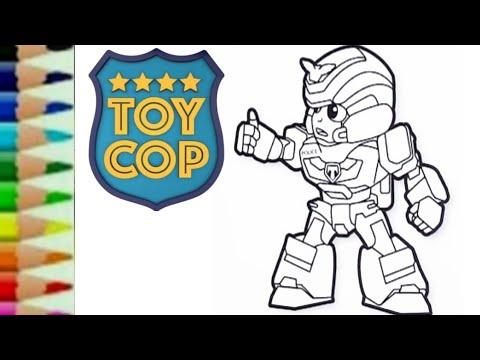 Toycop Toto Robot Transformers Car Police Cara Menggambar Mainan