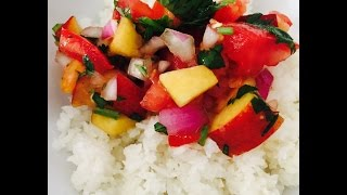 peach tomato salsa | raw vegan easy | dara dubinet