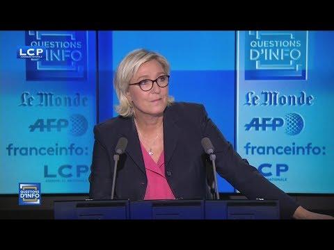 Marine Le Pen réagit à la démission de Philippot du FN (LCP, 21/09/17, 20h30)
