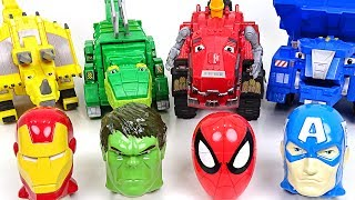 Give me back my head!! Dinotrux's Mavel Hulk, Spider-Man head surprise eggs open play - DuDuPopTOY