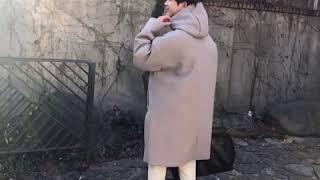 [붐스타일] 오버핏의 후드 모직 코트