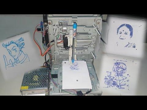 How To Make Mini CNC Plotter Machine Using DVD Writer & Arduino