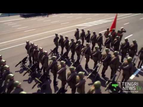 I added Borat's Kazakhstan anthem over Kazakh soldiers marching