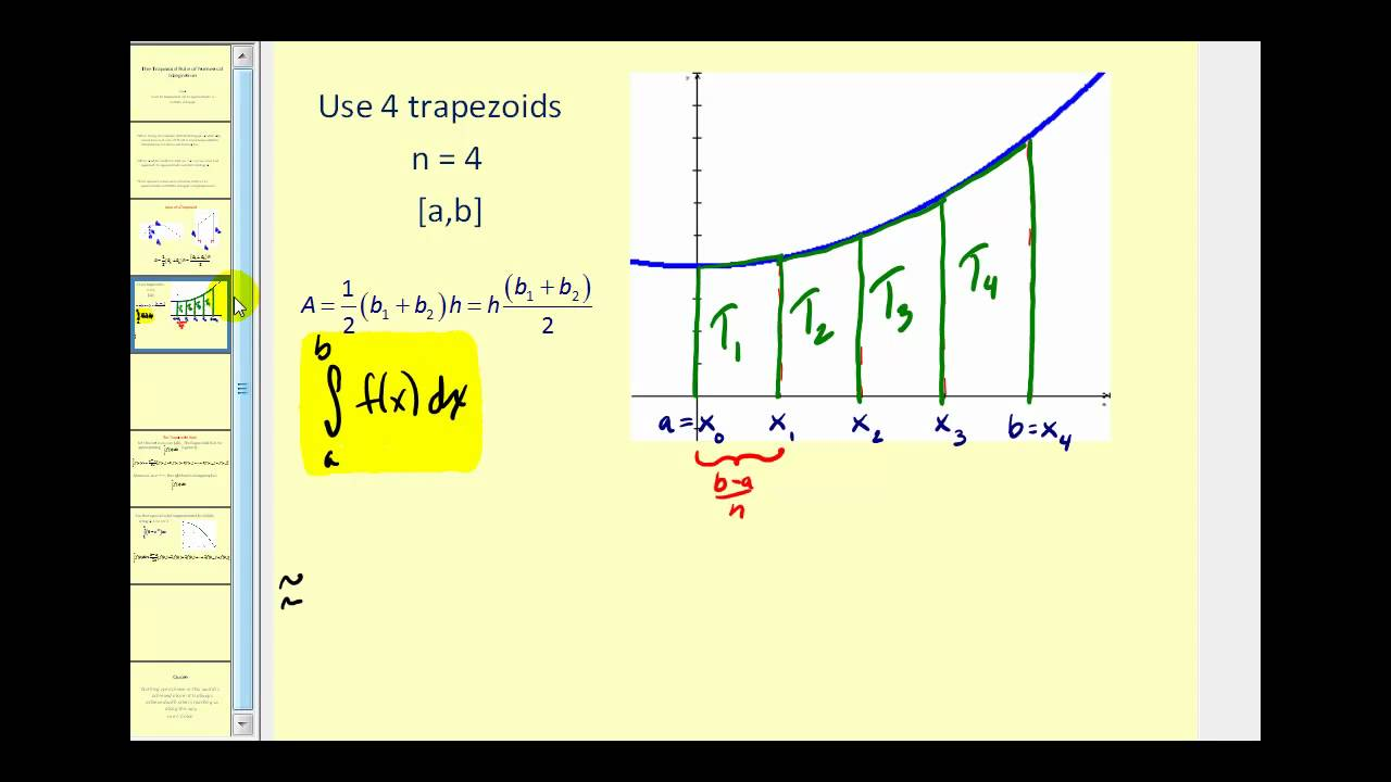 how to find a function using trapezoid integration