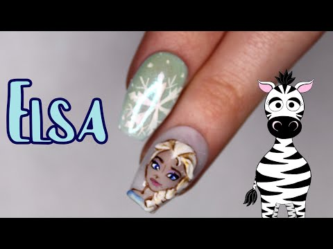 3D Elsa Acrylic Nail Art Tutorial | Frozen | Disney Princess Series thumbnail