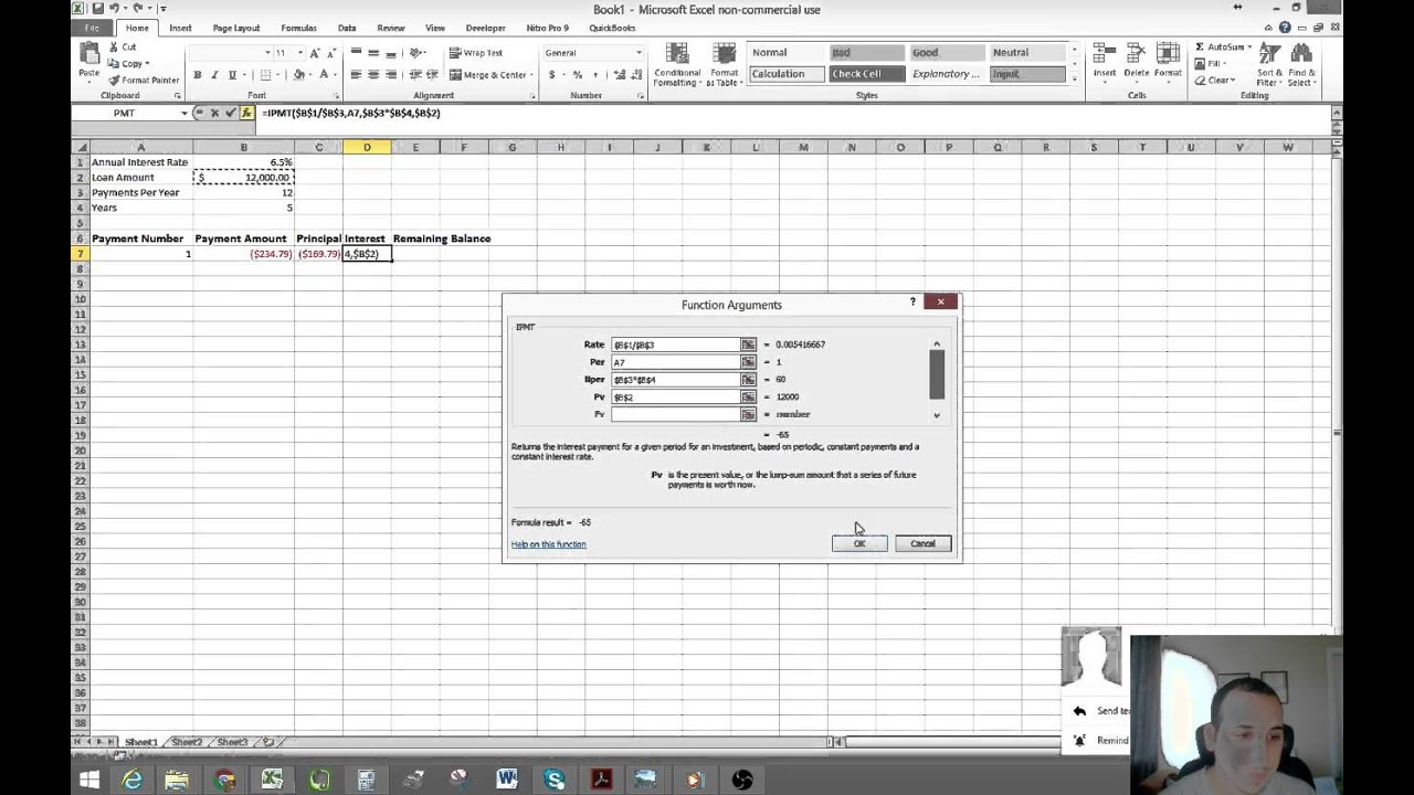 how to create a loan amortization table in excel
