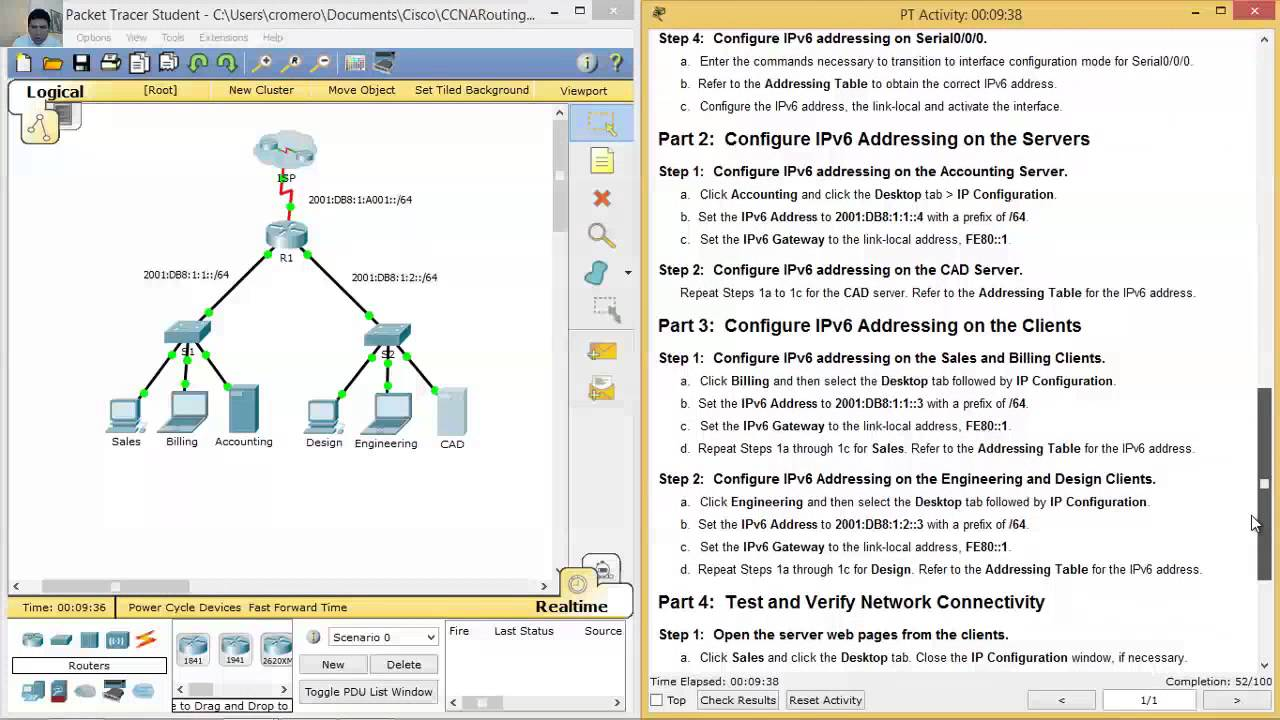 7 2 4 9 packet tracer configuring ipv6 addressing youtube rh youtube com Food Safety Lab Science Lab Instructor