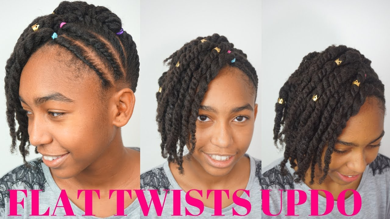Kids Natural Hairstyles Flat Twists Updo Tutorial On 4c Hair