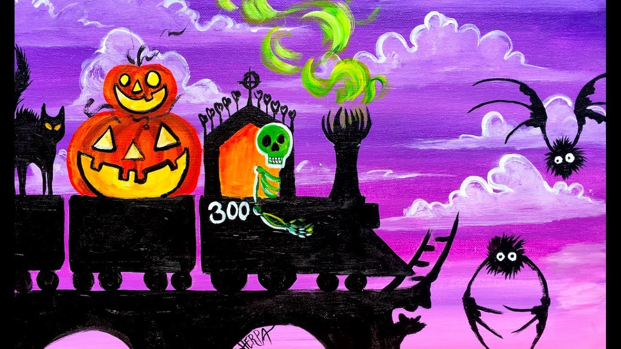 Spooky Train Step By Acrylic Painting On Canvas For Beginners