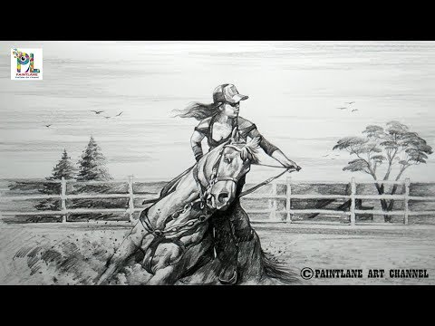 Learn to Sketch and Shade A Horse with Girl | Easy Pencil Art