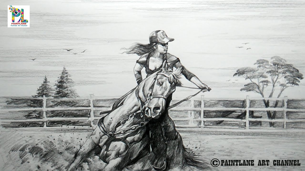 Learn to sketch and shade a girl with start horse riding easy pencil art