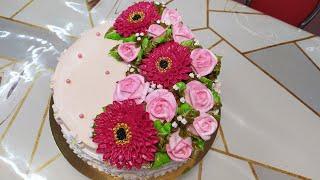 Торт Иней для женщины Отличное сочетание герберы и розы