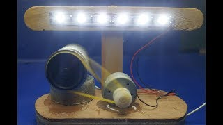 How to make free electronics energy light using  DC  motor with battery