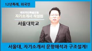 재외국민특별전형(12년특례, 외국인) 서울대 자기소개서…