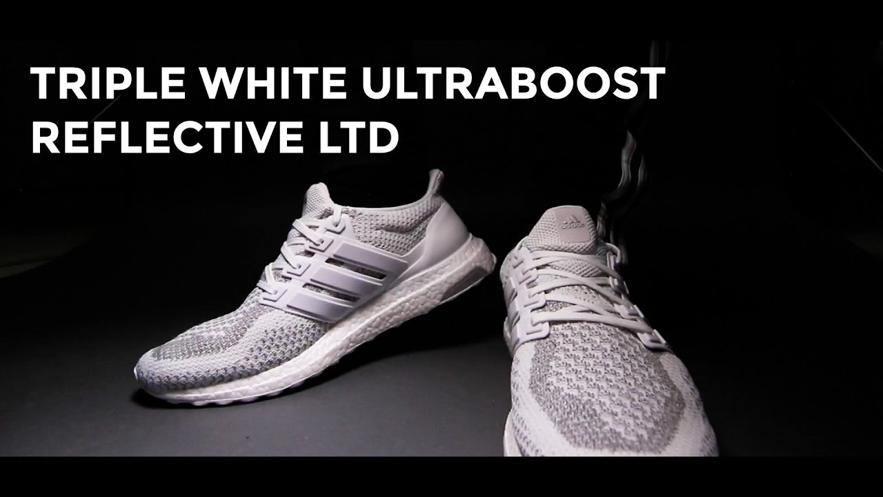 f69538cff 3M Triple White Ultraboost Reflective LTD On feet + Unboxing. - YouTube