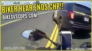 MOTORCYCLE REAR ENDS CALIFORNIA HIGHWAY PATROL