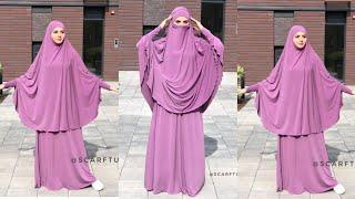 DIY!!!How to make tẁo piece Jilbab|Jilbab tutorial| How to cut and sew Jilbab