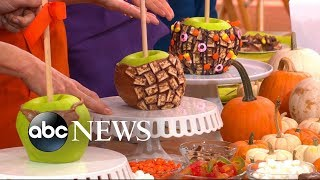 YouTube star Yolanda Gampp demonstrates how to make her candy apple cake