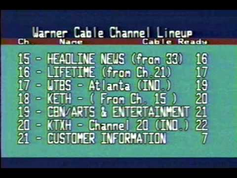 Warner Cable Lineup Changes 1989