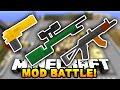 Minecraft EPIC GUN MOD BATTLE! (Minecraft Flan's Mod) w/ PrestonPlayz & The Pack!