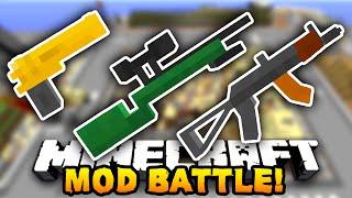 Minecraft EPIC GUN MOD BATTLE! (Minecraft Flan
