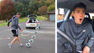 MOVING CAR FOOTBALL CHALLENGE!!