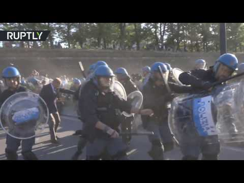 Anti-G7 protest turn violent before summit in Lucca, Italy