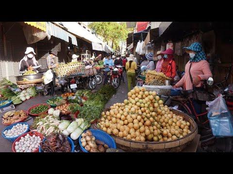 Morning Market Scenes - Amazing Food At Phsar TUMNOB TOUL KOUK Market @Camko City